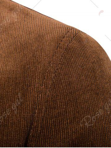 Outfit Elbow Patch Single Breasted Corduroy Blazer - 3XL BROWN Mobile