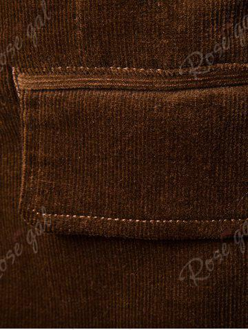 Unique Elbow Patch Single Breasted Corduroy Blazer - 3XL BROWN Mobile