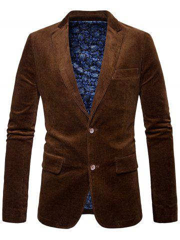 Elbow Patch Single Breasted Corduroy Blazer - Brown - M