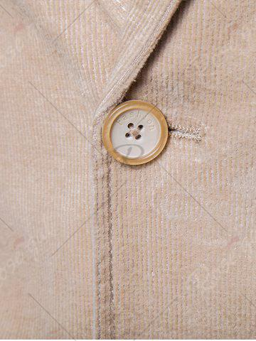 Online Elbow Patch Single Breasted Corduroy Blazer - 3XL OFF-WHITE Mobile