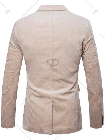 Best Elbow Patch Single Breasted Corduroy Blazer - 3XL OFF-WHITE Mobile