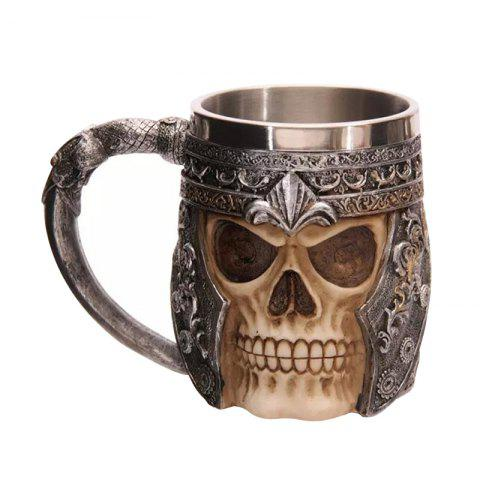 Fancy Stainless Steel 3D Skull Mug Party Decoration - BROWN  Mobile