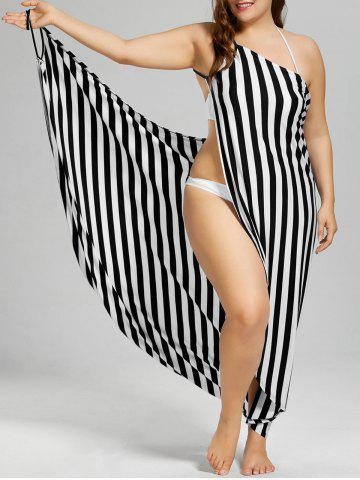 Vertical Stripe Plus Size Cover Up Maxi Dress - Black Stripe - 4xl