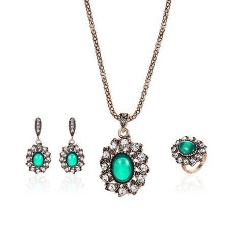 Faux Emerald Oval Necklace Earrings with Ring Set - Green