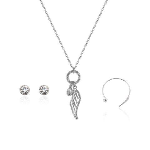 Angel Wing Necklace Earrings with Bracelet Set - Silver - One-size