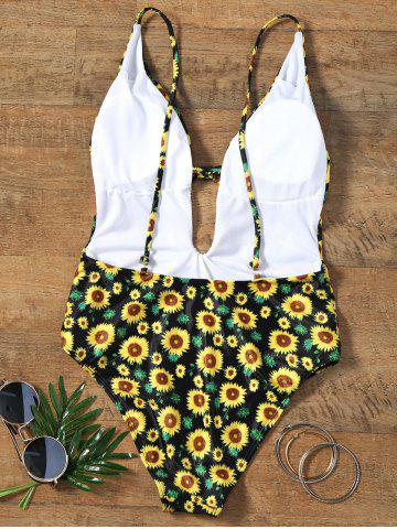 Discount Sunflower Print Plunging Neckline Backless Swimsuit - S COLORMIX Mobile