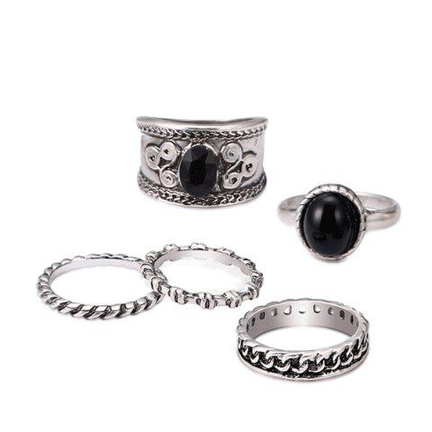 Latest Engraved Oval Circle Vintage Ring Set SILVER