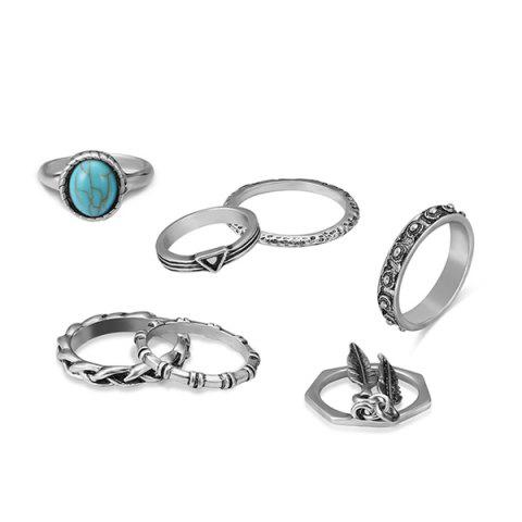 Affordable Faux Turquoise Alloy Feather Bohemian Ring Set SILVER