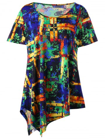 Cheap Plus Size Multi All-printed Long Asymmetric T-shirt COLORMIX 5XL
