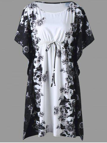 Plus Size Floral Batwing Sleeve Drawstring Dress - Black - 5xl