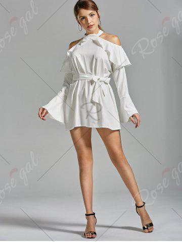 Hot Flounce Cold Shoulder Long Sleeve Cocktail Dress - S WHITE Mobile