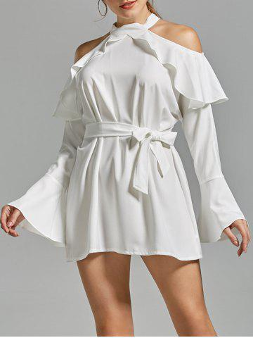 Chic Flounce Cold Shoulder Long Sleeve Cocktail Dress - XL WHITE Mobile