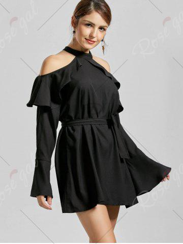 Best Flounce Cold Shoulder Long Sleeve Cocktail Dress - L BLACK Mobile