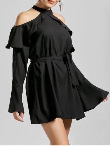 Flounce Cold Shoulder Long Sleeve Cocktail Dress - Black - L