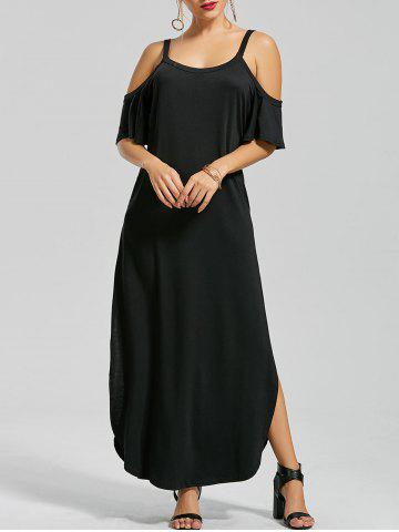 Cheap Slit Pockets Maxi Cold Shoulder Dress BLACK 2XL