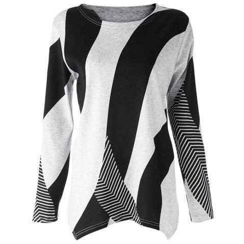 Stylish Scoop Neck Long Sleeves Geometric Printed Irregular Hem T-Shirt For Women