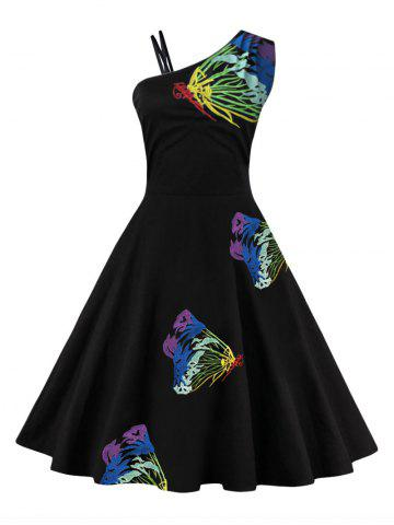 Shop Butterfly Embroidered One Shoulder Flare Dress BLUE XL