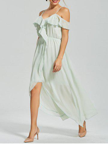 New Ruffle Front Slit Chiffon Slip Dress GREEN L