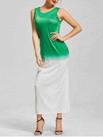 Ombre Fitted Maxi Dress - White And Green - S