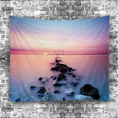 Sale 3D Beach Sunset Wall Tapestry - W51 INCH * L59 INCH LIGHT BLUE Mobile
