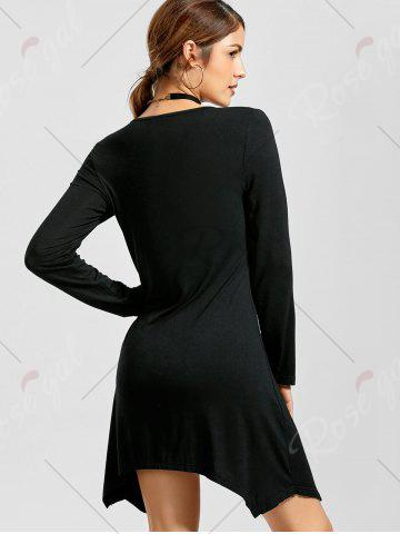 Outfits V Neck Long Sleeve Asymmetrical Mini Dress - XL BLACK Mobile
