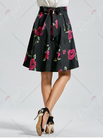 Buy Belted High Low Floral Skirt - S RED Mobile