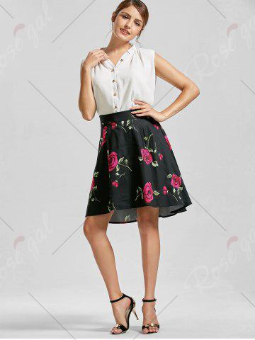Hot Belted High Low Floral Skirt - S RED Mobile