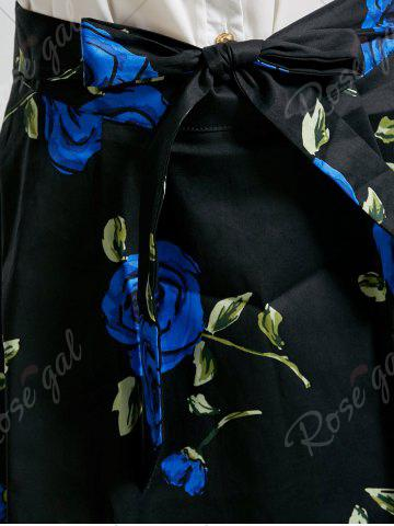 Chic Belted High Low Floral Skirt - 2XL BLUE Mobile