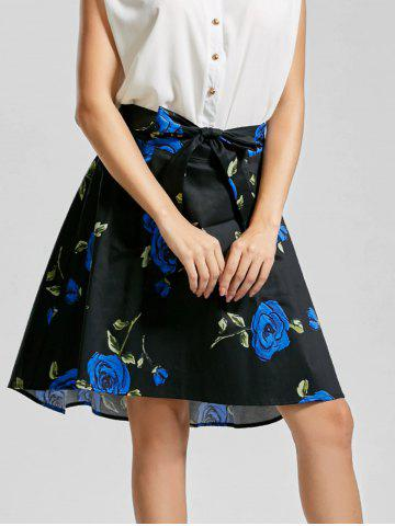 Fancy Belted High Low Floral Skirt - 2XL BLUE Mobile