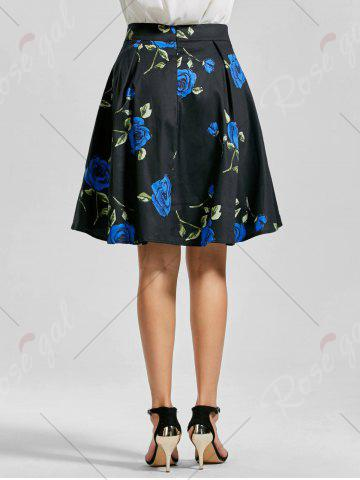 Buy Belted High Low Floral Skirt - 2XL BLUE Mobile