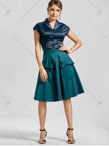 Outfit Pocket High Waisted A Line Dress - S PEACOCK BLUE Mobile