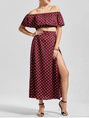 New Polka Dot Off The Shoulder Three Piece Dress - S WINE RED Mobile