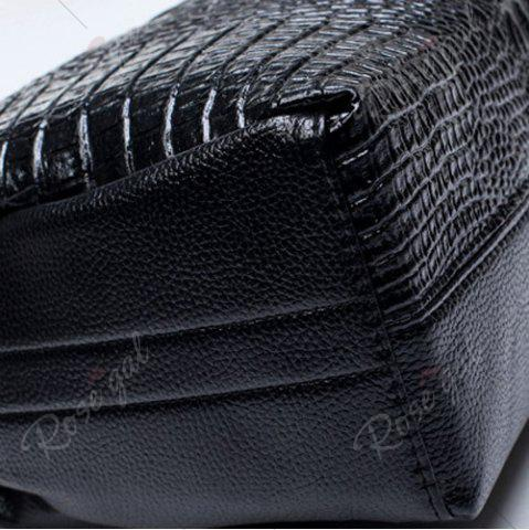 Chic Crocodile Embossed Handbag with Wallet - BLACK  Mobile
