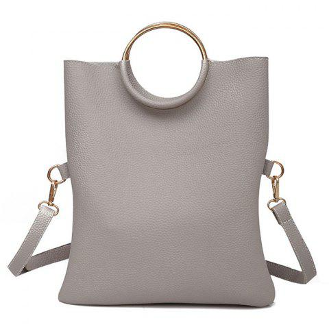 Metal Ring Tote Bag with Wristlet - Gray - 38