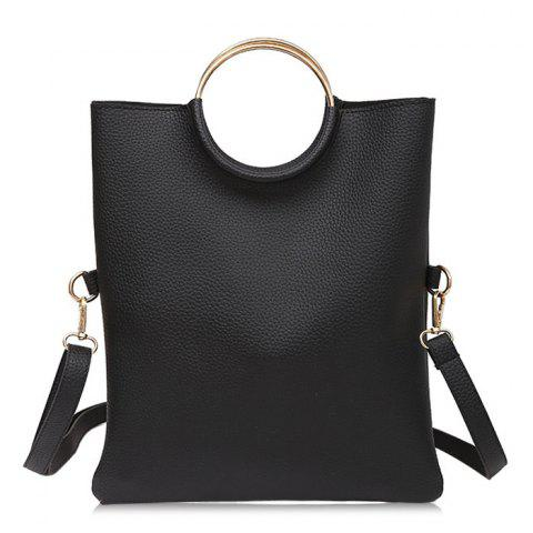 Metal Ring Tote Bag with Wristlet - Black - 8