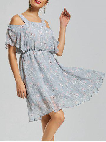 Outfit Floral Print Spaghetti Strap Dress - M BLUE Mobile
