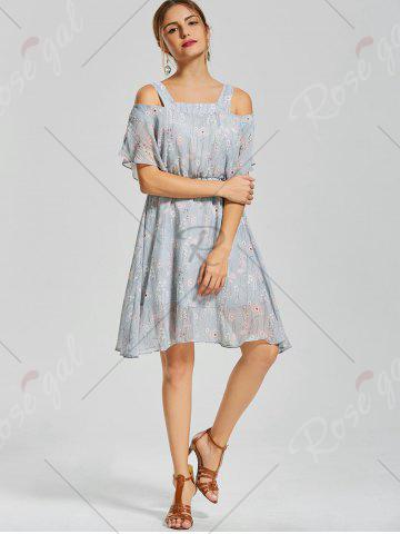 Online Floral Print Spaghetti Strap Dress - M BLUE Mobile