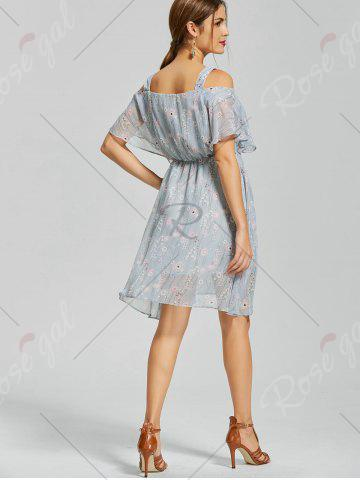 Fancy Floral Print Spaghetti Strap Dress - M BLUE Mobile