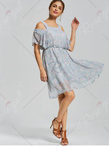 Discount Floral Print Spaghetti Strap Dress - M BLUE Mobile