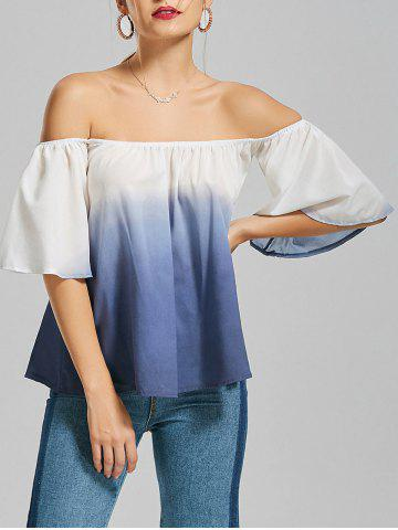 Ombre Flare Sleeve Off The Shoulder Blouse