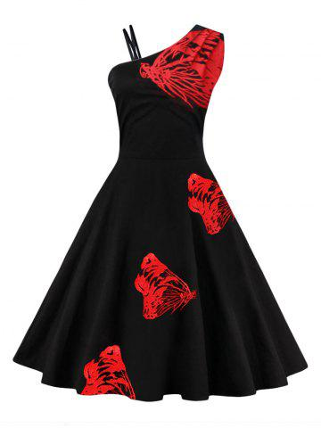 Butterfly Embroidered One Shoulder Flare Dress - Red - Xl