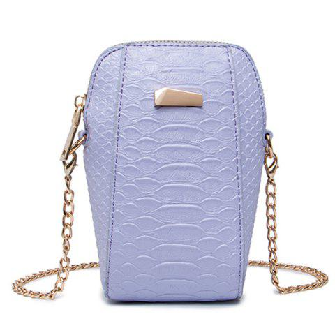 Crocodile Embossed Chain Crossbody Bag - Purple