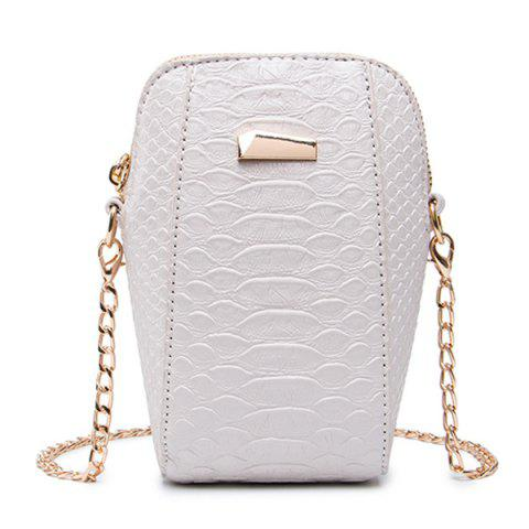 Crocodile Embossed Chain Crossbody Bag - Off-white - 37
