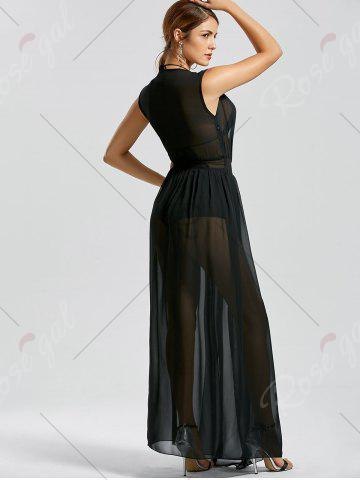 Store Sheer Thru High Slit Low Cut Mesh Dress - L BLACK Mobile