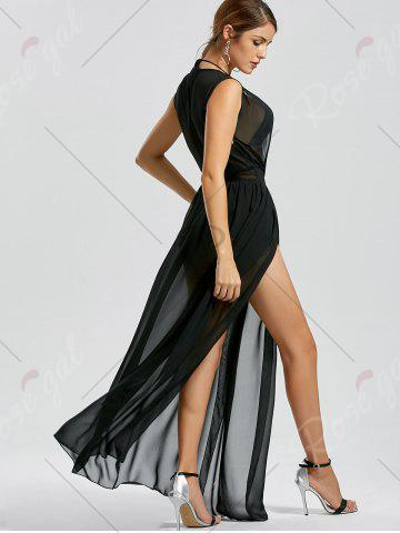 New Sheer Thru High Slit Low Cut Mesh Dress - L BLACK Mobile
