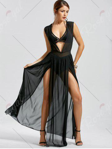 Affordable Sheer Thru High Slit Low Cut Mesh Dress - L BLACK Mobile