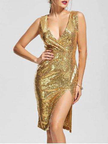 Front Slit Plunging Neck Bodycon Sequin Dress Or S