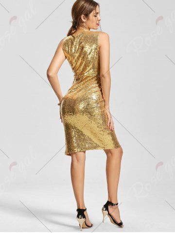 Trendy Front Slit Plunging Neck Bodycon Sequin Dress - XL GOLDEN Mobile