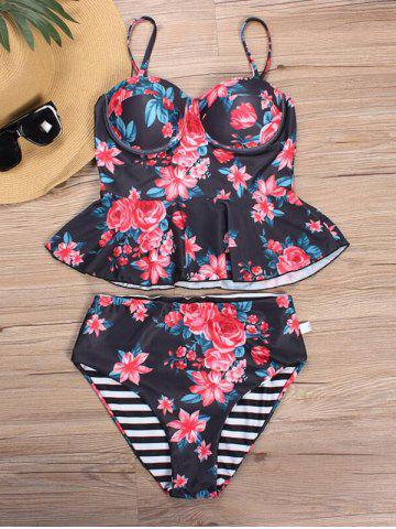 Outfits Striped Floral Print Tankini Set RED XL