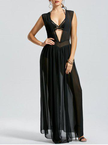Sheer Slit Low Cut Mesh Robe de fête